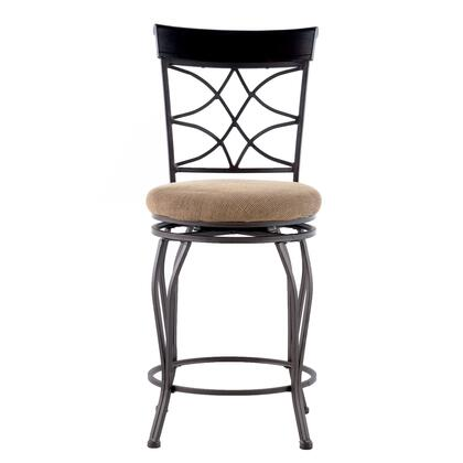 Linon 02728MTL01KDU Curves Series Microfiber Upholstered Bar Stool