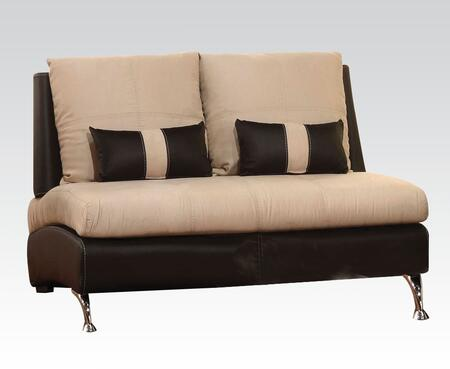 """Acme Furniture Jolie Collection 54"""" Loveseat with 2 Pillows Included, Pine Wood Construction, Loose Back Cushions, Tight Seat Cushions, Suede and PU Leather Upholstery in"""