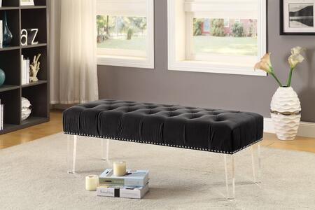 "Meridian Celine 101X 48"" Velvet Bench with Acrylic Legs, Nail Head Accents and Hand Crafted in"