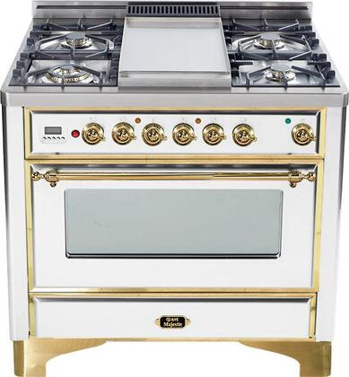"""Ilve UM90FMPB 36"""" Majestic Series Dual Fuel Freestanding Range with Sealed Burner Cooktop, 2.8 cu. ft. Primary Oven Capacity, Warming in True White"""