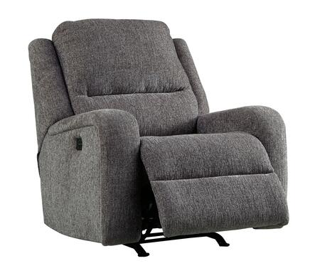 """Signature Design by Ashley Krismen Collection 7810X13 36"""" Power Rocker Recliner with Adjustable Headrest, Chenille Upholstery, Track Arms and USB Charging Port in"""
