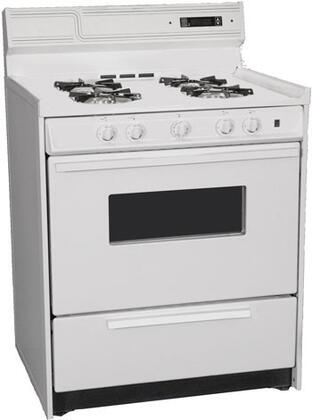 """Summit WNM2307KW 30""""  White Gas Freestanding Range with Open Burner Cooktop, 3.69 cu. ft. Primary Oven Capacity, Broiler"""