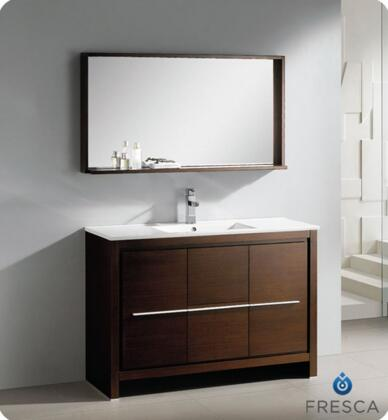 "Fresca Allier Collection FVN8148 48"" Modern Bathroom Vanity  with Mirror, Soft Closing Drawer and Integrated Ceramic Countertop and Sink in"