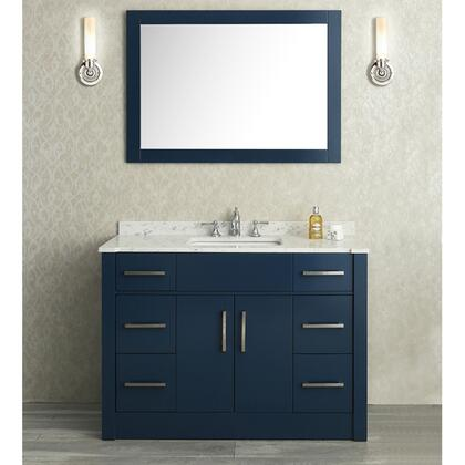 "Ariel SCRAD48S Seacliff by ARIEL Radcliff 48"" Single Sink Vanity Set with Quartz Countertop and Simple pulls in"