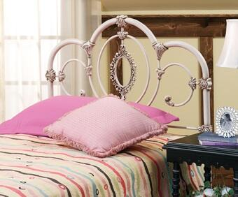Hillsdale Furniture 1310HR Victoria Open-Frame Headboard with Rails Included, Oval Filigree, Ornate Castings and Metal Construction in Antique White Color