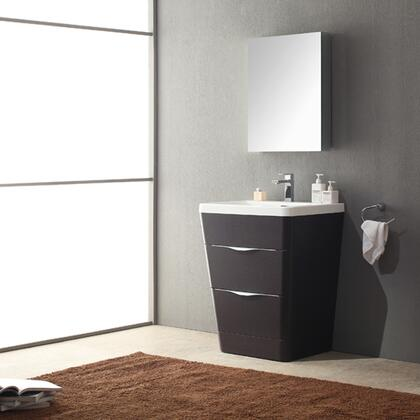 """Fresca Milano Collection FVN8525 26"""" Modern Bathroom Vanity with Medicine Cabinet, 2 Soft Closing Drawers and Integrated Acrylic Countertop and Sink in"""
