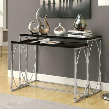 Monarch I 302XX Two Piece Console Table Set, with Rectangular Top, Chrome Metal Base, and Contemporary Design