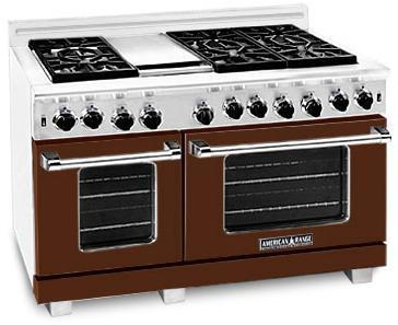 "American Range ARR4842GRHB 48"" Heritage Classic Series Gas Freestanding Range with Sealed Burner Cooktop, 4.8 cu. ft. Primary Oven Capacity, in Brown"