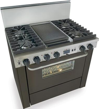 "FiveStar TPN3377 36"" Freestanding Dual Fuel-Liquid Propane Range With 4 Sealed Ultra High-Low Burners, 3.69 Cu. Ft Convection Oven. Self-Cleaning, 240 Volts, 40 Amps, In"