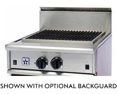 "BlueStar RGTNB Series RGTNB24CBV1 24"" Open Burner Pro-Style Companion Gas Rangetop With 1 Burner, 30,000 BTU Charbroiler, Single Point Spark Ignition, In Stainless Steel"