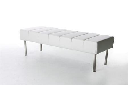 Fine Mod Imports FMI2206WHITE Accent Armless Stainless Steel Leather Bench