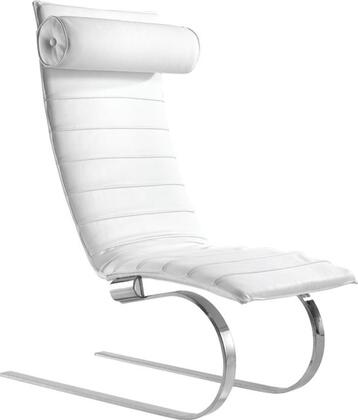 Fine Mod Imports FMI10041WHITE Pika Series Contemporary Leather Chaise Lounge