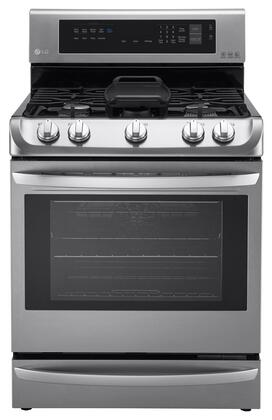 "LG LRG4115x 30"" Gas Single Oven Range with 6.3 cu. ft. Capacity, ProBake Convection, EasyClean, UltraHeat, and Warming Drawer, in"