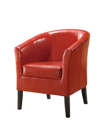 Linon 36077RED01ASU Simon Series Red Vinyl Armchair with Wood Frame in Red