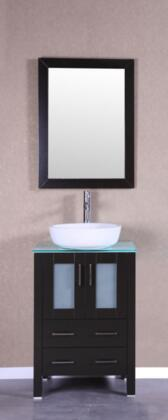 Bosconi Bosconi Single Vanity with Tempered Glass Top, Ceramic Vessel sink, Vanity Mirror, Faucet, Soft Closing Doors and Drawers