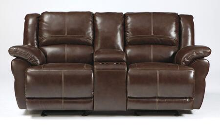 Signature Design by Ashley Lenoris U9890X91 Glider Reclining Power Loveseat with Storage Console, Cup Holders, Pillow Top Arms and Plush Bustle Back Cushions in