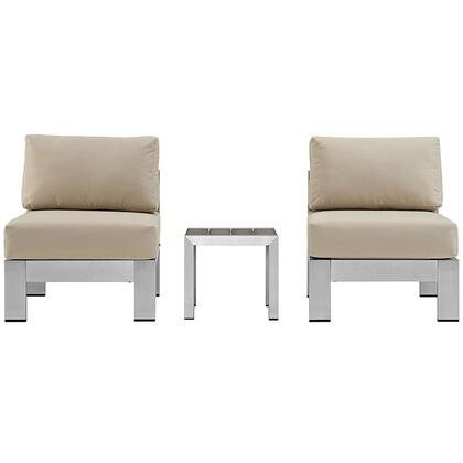 Modway EEI2598SLVBEI Modern Square Shape Patio Sets