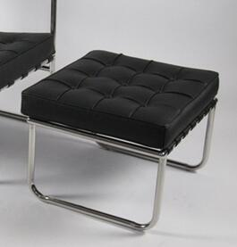 Fine Mod Imports FMI9257BLACK Celona Series Modern Leather Polished Stainless Steel Frame Ottoman