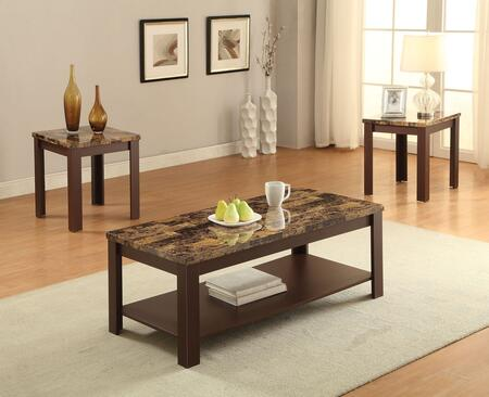 Acme Furniture Afton 3 PC Living Room Table Set with 2 Square End Tables, Rectangular Coffee Table, Straight Legs and Faux Marble Top in