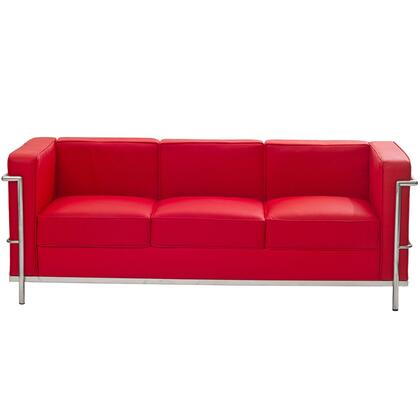 Modway EEI128RED Charles Series Stationary Leather Sofa