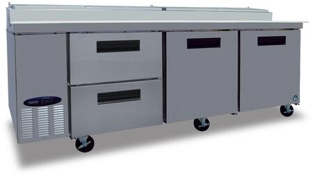 """Hoshizaki CPT93Dx 93"""" Commercial Series Pizza Prep Table with Drawers, Door, Stainless Steel Exterior and Interior, 30 cu. ft. Capacity, 14 Gauge Drawer Slides and Frames, and NSF-7 Temperatures, in Stainless Steel"""