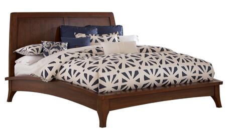 Broyhill Mardella 4277BED Platform Bed with Dramatic Arched Bedframe, Tapered Legs and Panel Designed Headboard in Cognac Finish
