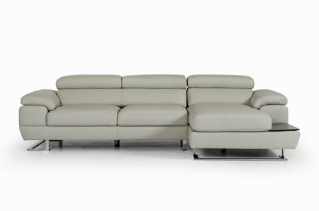 VIG Furniture VGNTINVICTUSGRY Estro Salotti Invictus Series Sofa and Chaise Leather Sofa