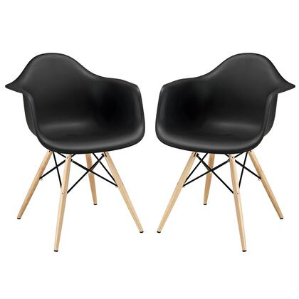 Modway EEI-929-XXX Pyramid 2x Modern Dining Armchairs with Solid Wood Base, Plastic Non-Marking Feet and PP Plastic Seat