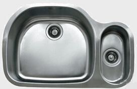 "Ukinox D53770308 32"" Wide Undermount Double Bowl Sink - 18-Gauge: Stainless Steel"