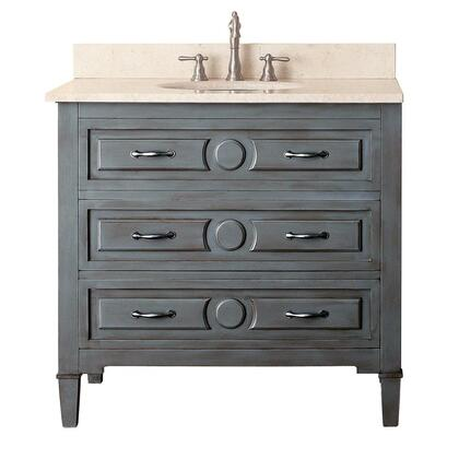 "Avanity KELLY-V Kelly 36"" Vanity, with Old Nickel Finished Hardware, 2 Soft Closed Drawers, and Adjustable Height Levelers, in Grayish Blue Finish"