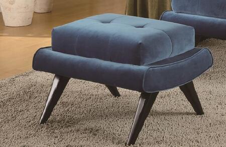 Armen Living LC281OTX 5th Avenue Ottoman with Birchwood Frames, Wooden Ebony Legs and Cerulean Fabric in