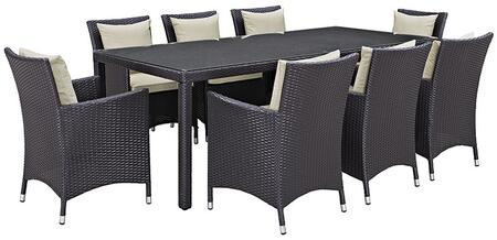 Modway Convene EEI2217EXP 9 PC Outdoor Patio Dining Set with 8 Armchairs, Rectangular Glass Top Table, Synthetic Rattan Weave Construction and Power Coated Aluminum Frame in Espresso Color