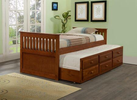 Donco 103E Espresso Wood Twin Mission Captains Bed With Trundle