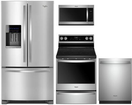 Whirlpool 1052107 4 Piece Fingerprint Resistant Stainless Steel Kitchen Appliances Package