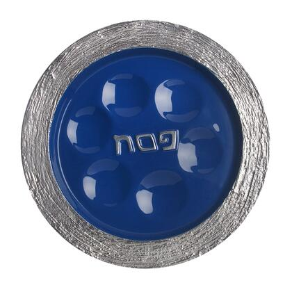 """Israel Giftware Design PT-53X Handmade 13"""" x 13"""" Round Passover Plate with Brushed Aluminum Frame and X Enamel Center"""