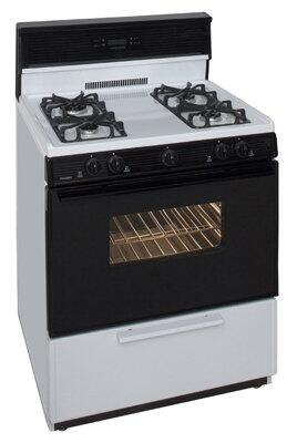 "Premier SGK34GW 30""  Gas Freestanding Range with Sealed Burner Cooktop, 3.9 cu. ft. Primary Oven Capacity, Broiler in White"