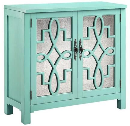 """Stein World Laden 1337Y 36"""" Cabinet with Scroll Fretwork Design, Adjustable Shelf and Mirrored Glass Doors in"""