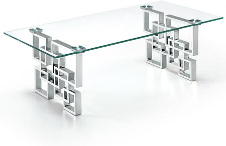 Meridian Alexis Collection 231-TABLE Table with Contemporary Design, Stainless Steel and Glass Tops in Chrome