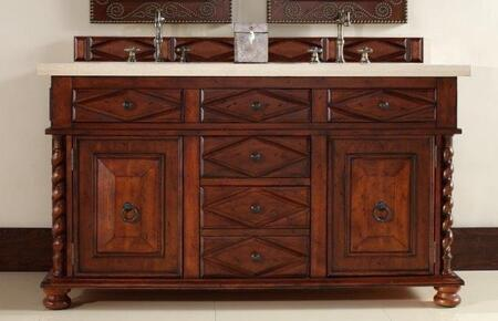 "James Martin Continental 60"" Double Vanity with 2 Doors, 5 Drawers, 2 Sinks Included, Marble Top, Antique Brass Hardware, Cherry and Birch Materials in Burnished Cherry Finish"