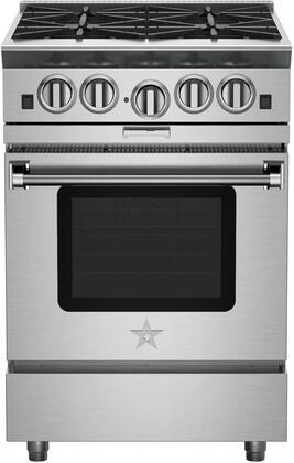 "BlueStar BSP244 24"" Platinum Series Freestanding Range with 4 Open Burners, Interchangeable 2-in-1 Griddle Charboiler, Innovative PowR Oven, and Powerful 25,000 BTU PrimaNova Burner, in Stainless Steel"