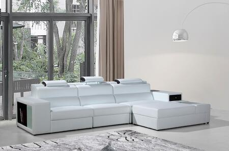VIG Furniture VGEV5022BWHT Divani Casa Polaris Series Sofa and Chaise Bonded Leather Sofa