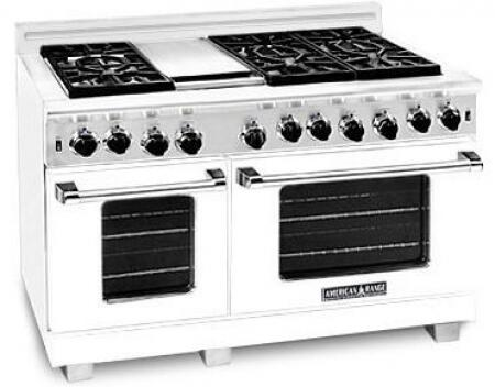 "American Range ARR4842GRLW 48"" Heritage Classic Series Gas Freestanding Range with Sealed Burner Cooktop, 4.8 cu. ft. Primary Oven Capacity, in White"