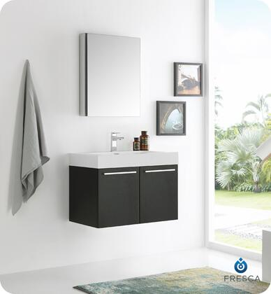 """Fresca Vista Collection FVN8089 30"""" Wall Hung Modern Bathroom Vanity with Medicine Cabinet, 2 Soft Closing Doors and Integrated Acrylic Countertop and Sink in"""