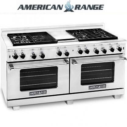 "American Range ARR6062GRLISS 60"" Heritage Classic Series Gas Freestanding Range with Sealed Burner Cooktop, 4.8 cu. ft. Primary Oven Capacity, in Stainless Steel"