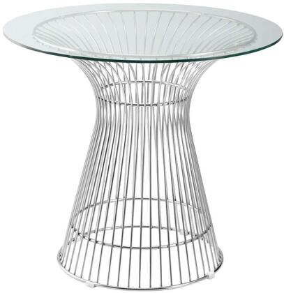 Fine Mod Imports FMI9230X Libo Dining Table Steel Wire Base With Round Glass Top