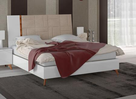 ESF Sirio Collection Panel Bed with Tapered Legs, Eco-Leather Headboard Upholstery and Fire Resistant