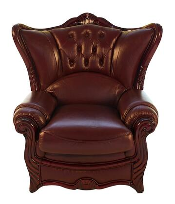 J. Horn 988BURGC 988 Series Leather Armchair with Wood Frame in Burgundy