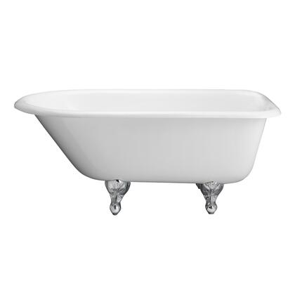 """Barclay CTRH61 61"""" Blakely Cast Iron Roll Top Tub with Overflow, 3-3/8"""" Wall Holes and Ball Feet Finished in:"""