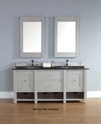 """James Martin Madison 800V72DVGG 72"""" Double Vanity with 2 Doors, 2 Shelves, 2 Drawers, 2 Sinks Included, Granite Top, Satin Nickel Hardware, White Poplar and Plywood Materials in Dove Grey Color"""