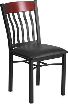 """Flash Furniture Eclipse Series XU-DG-60618-XXX-BLKV-GG 36"""" Restaurant Chair with Vinyl Seat, Stretchers and Slat Back in"""